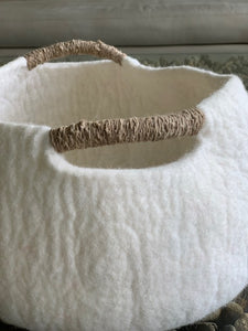 Large or Extra Large Handmade 100% Natural Wool Basket Bed -White with natural yarn handle