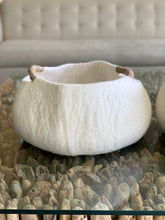 Load image into Gallery viewer, Large or Extra Large Handmade 100% Natural Wool Basket Bed -White with natural yarn handle
