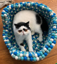 Load image into Gallery viewer, Custom Made to Order 100% Natural Wool Pet Bed - Aqua Blue
