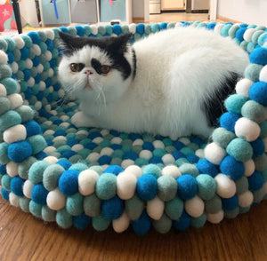 Custom Made to Order 100% Natural Wool Pet Bed - Aqua Blue