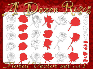 A Dozen Roses Vector set