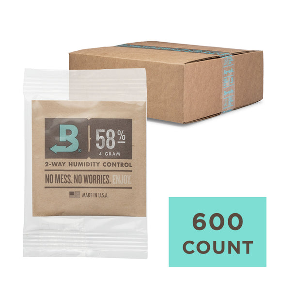 600 Unit Case Boveda Wholesale 4 Gram Overwrapped 58% RH