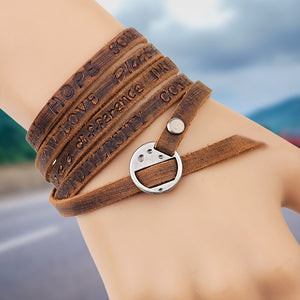Multi-Layer Charm Style Leather Bracelet