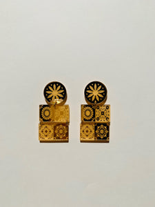 TALAVERA MEXICAN TILE Dangles-Gold Mirror
