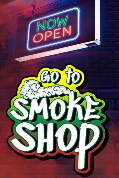 "The Go To Smoke Shop logo is under a neon ""Now Open"" sign. Welcome to Go To Smoke Shop!"