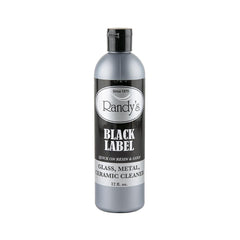 A bottle of Randy's Black Label cleaner is centered against a completely white background.