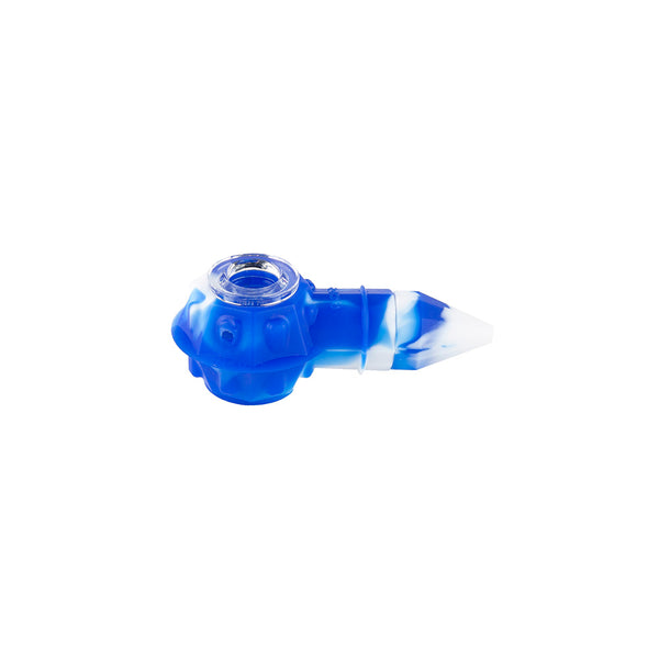 Ooze Bowser Silicone Pipe / Loose / Blue & White