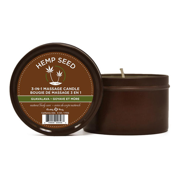 Earthly Body - Hemp Seed 3-in-1 Massage Candle - Guavalava - 6.8oz