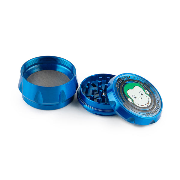 Green Monkey Grinder - Crown - Clear Top - Blue - 63MM