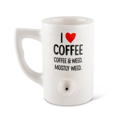 Coffee & Weed Porcelain Mug - White