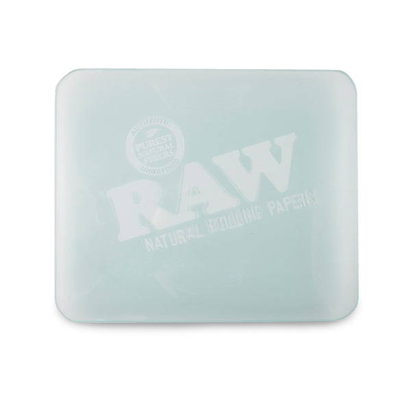 RAW Double Thick Glass Rolling Tray - Frosted - Large