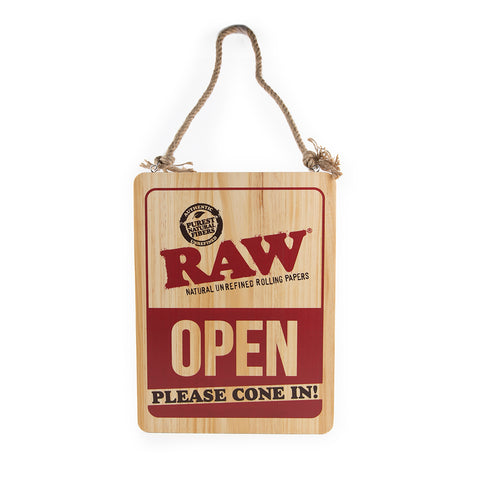 Raw Wood Sign - Open Please Cone In
