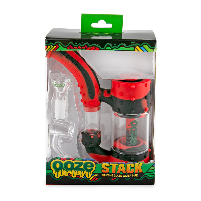 Stack Pipe Silicone Bubbler - Black / Red