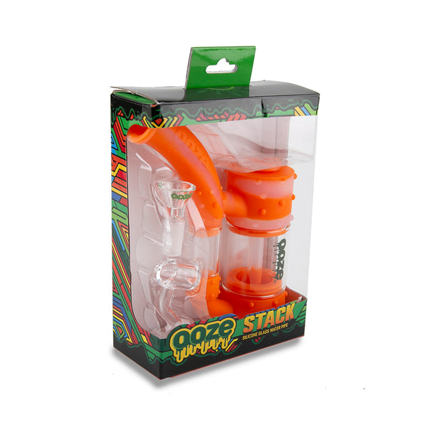 Stack Pipe Silicone Bubbler - Orange / Clear