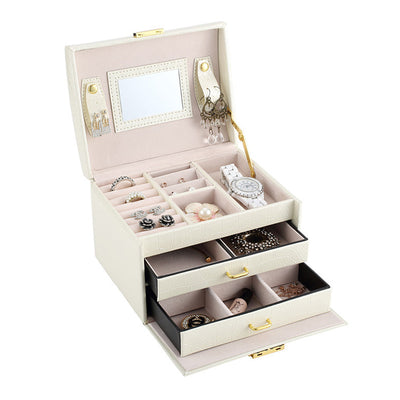 Pu Leather Multi Layer Jewelry Box Drawer Girls Earrings Necklace With Boutashop