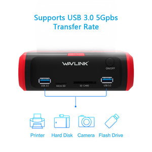 "USB 3.0 to SATA Dual Bay External Hard Drive Docking Station for 2.5"" & 3.5""SSD HDD"