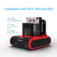 "Load image into Gallery viewer, USB 3.0 to SATA Dual Bay External Hard Drive Docking Station for 2.5"" & 3.5""SSD HDD"