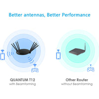 Load image into Gallery viewer, QUANTUM T12 – AC4300 MU-MIMO Tri-band Smart Wi-Fi Router with Touchlink
