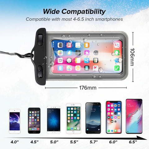 waterproof phone case supports all regular size smartphones