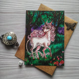 """Unicorn in the forest"" Postcard"