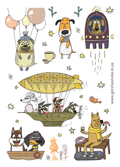 animal stickers, dog stickers, stickers for the diary