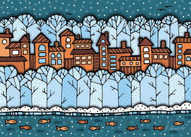 Winter dream postcard, winter postcard, city postcard, winter city postcard