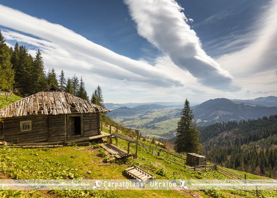 Carpathians Ukraine Postcard, mountains postcard