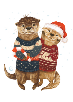 otters postcard, christmas card, christmas postcard,