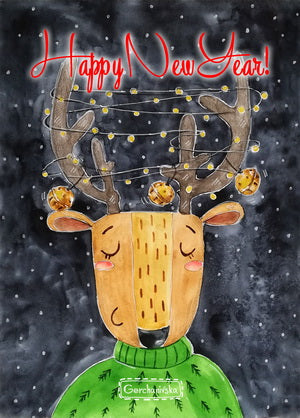 New Year's deer postcard, christmas deer postcard, marry christmas deer postcard