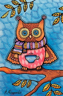 owl postcard, Autumn owl postcard, owl postcard for sale