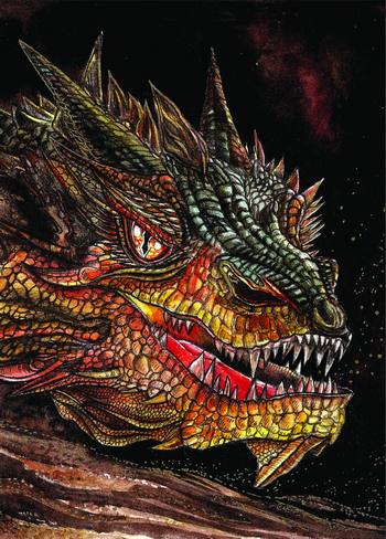 dragon postcard, the hobbit postcard, smaug postcard, dragon smaug card