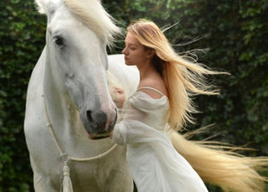 Girl and White Horse postcard, White Horse postcard, White Horse card