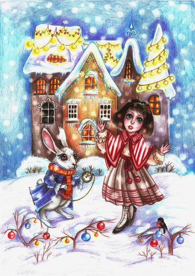 alice postcard, new year card alice in wonderland,