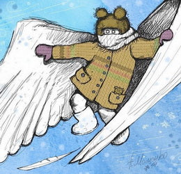 angel postcard, angel card, Winter angel postcard