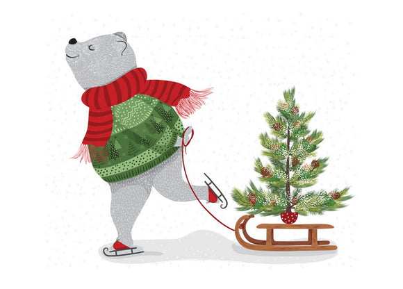 bear and tree postcard, new year card bear and sled, bear new year card
