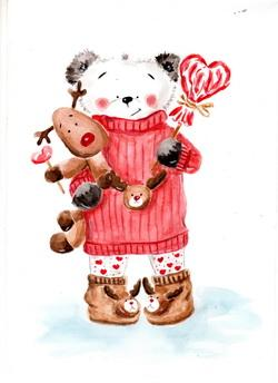 charming teddy bear valentine card, bear valentine card, valentine card