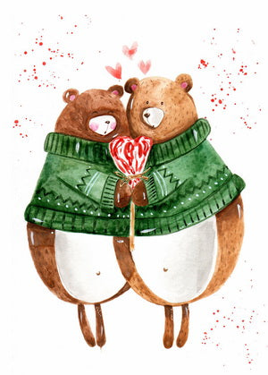 bears in love, valentine, valentine card, greetings love, all you need is love postcard