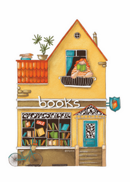 bookstore postcard, bookshop postcard,