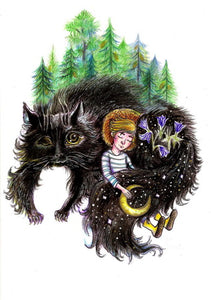 postcard black cat, slavic fairy tales postcard