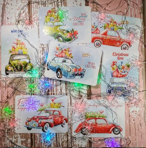 "Set of 7 cards ""Christmas cars"""