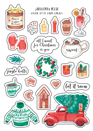 christmas stickers for cards, merry christmas stickers,