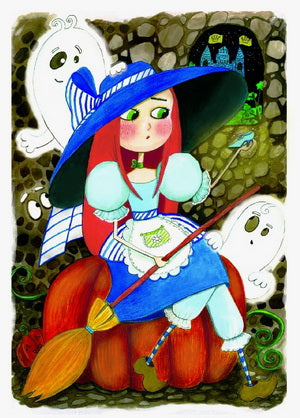 Cinderella postcard, Witch postcard, pumpkin postcard