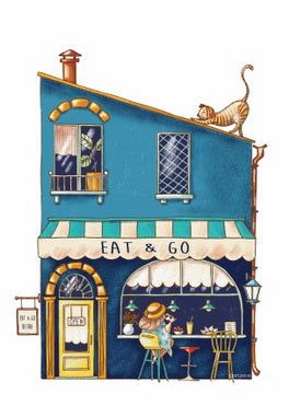 eat and go postcard, bistro postcard