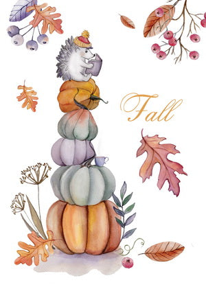 fall postcard, pumpkins postcard, autumn postcard, hedgehog postcard