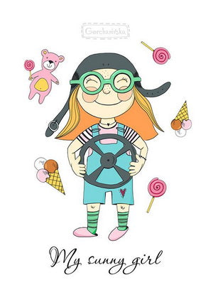 cheerful girl postcard, funny girl postcard, sunny girl postcard