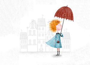 city postcard, girl in the city postcard, umbrella postcard, girl under the umbrella postcard