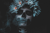 Santa Muerte postcard, halloween make up postcard