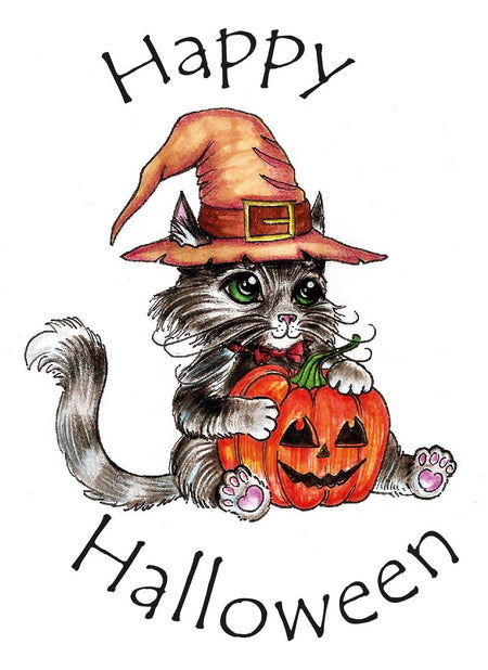 happy halloween cat card, happy halloween card, halloween cat card