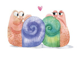 all in love postcard,  in love postcard, Love postcard, snails in love postcard, Love Snails Postcards