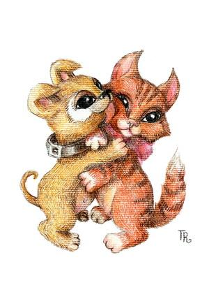 kiss postcard, love postcard, dog and cat postcard, cat and dog postcard